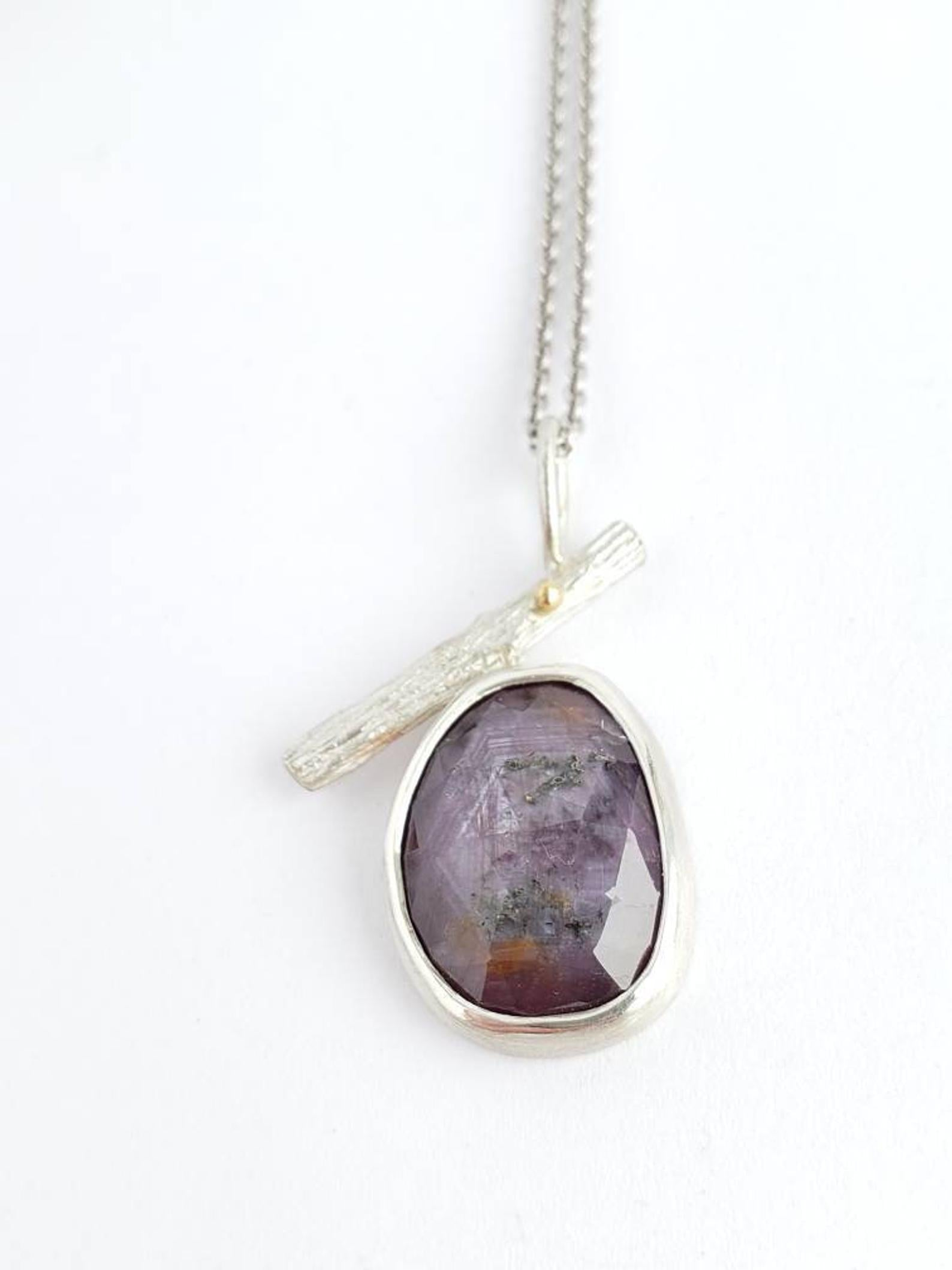 Purple Sapphire Twig Pendant in Sterling Silver and 18k gold