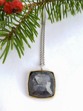 Load image into Gallery viewer, Square Gray Sapphire, Twig Branch, Pendant in18k gold and Sterling Silver with 4 hearts