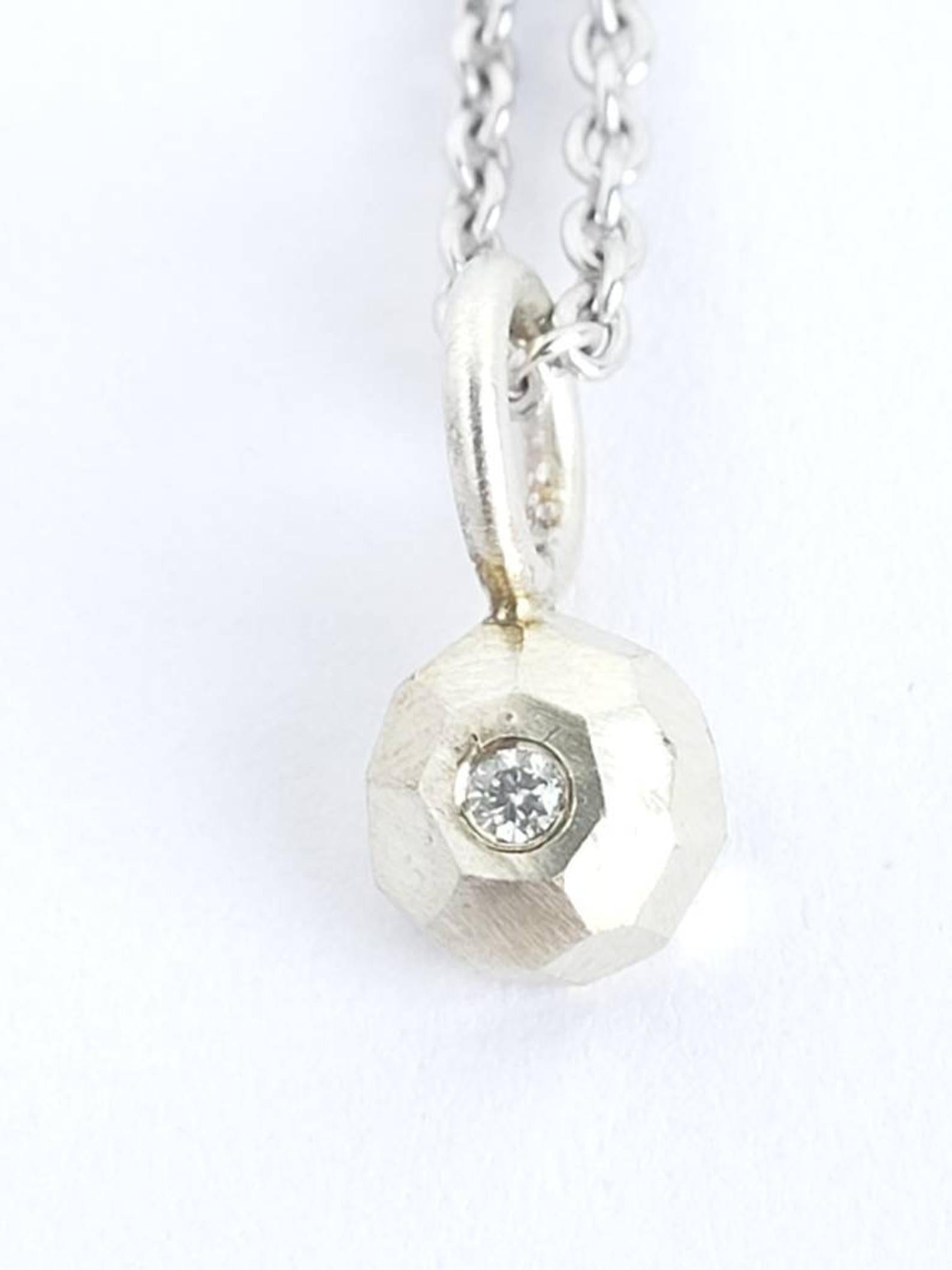 Diamond Pendant, Recycled Sterling Silver (Pendant Only)