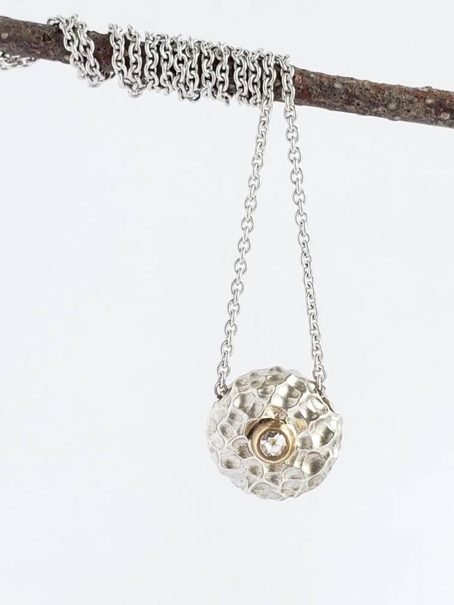 Luna, Textured Sterling Silver, 14k Gold and Diamond Pendant