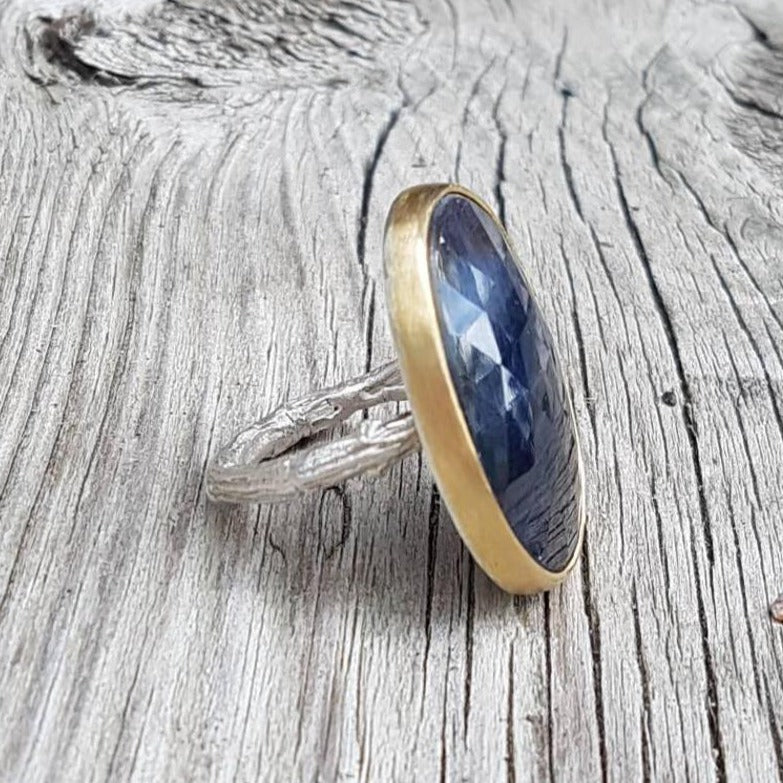 Blue Sapphire Twig Ring, in Sterling Silver with a 18k Yellow Gold Bezel