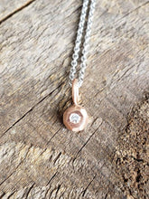 Load image into Gallery viewer, Geo Drop Diamond Pendant, Recycled 14k Rose Gold