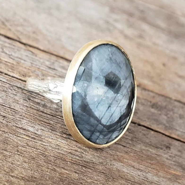 Grey Sapphire Twig Ring in Sterling Silver with Gold Bezel
