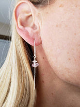 Load image into Gallery viewer, Pink Amethyst and Swarovski Bead on Rope Earring