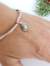 Load image into Gallery viewer, Twig Bangle with Sapphire Charm
