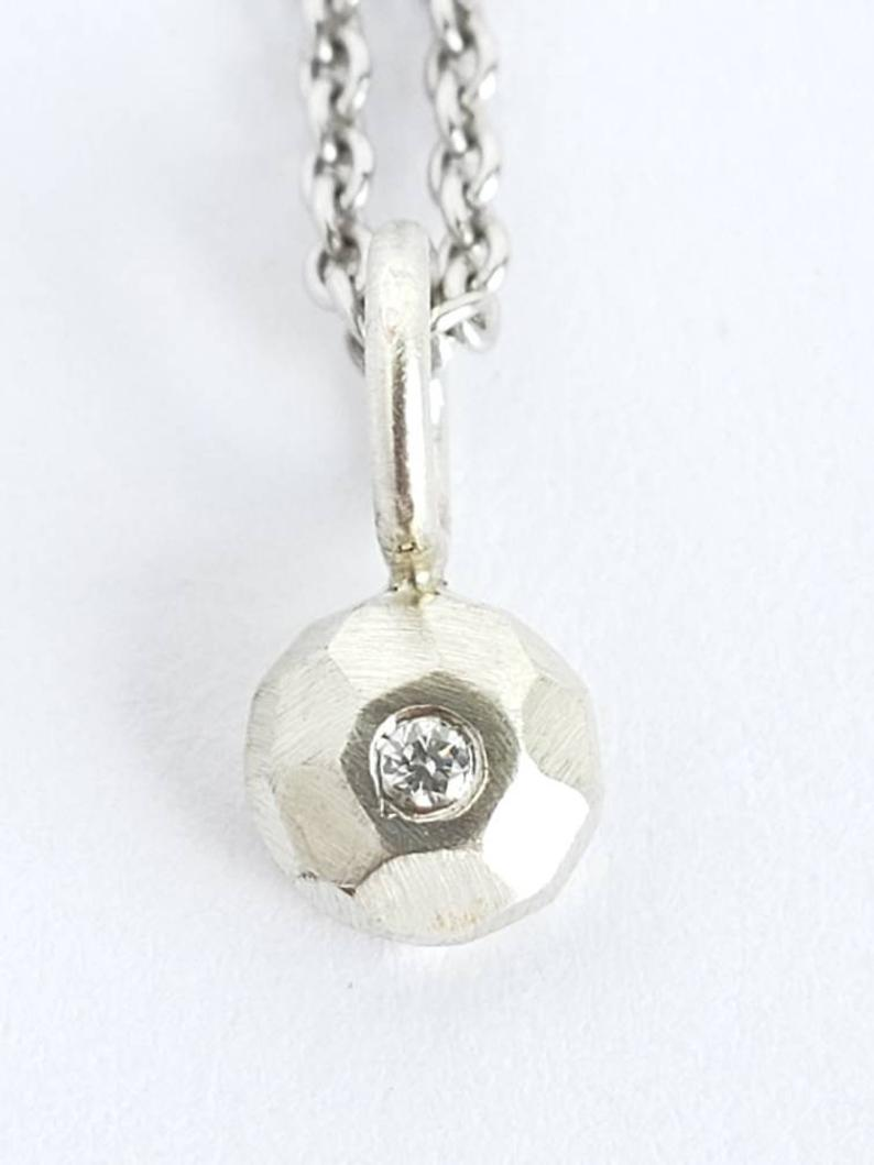 Diamond Pendant, Recycled Sterling Silver