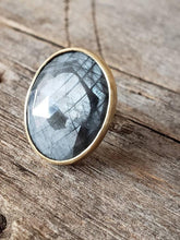 Load image into Gallery viewer, Grey Sapphire Twig Ring in Sterling Silver with Gold Bezel