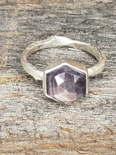 Load image into Gallery viewer, Golden Brown hexagon Sapphire Twig Ring in Sterling Silver