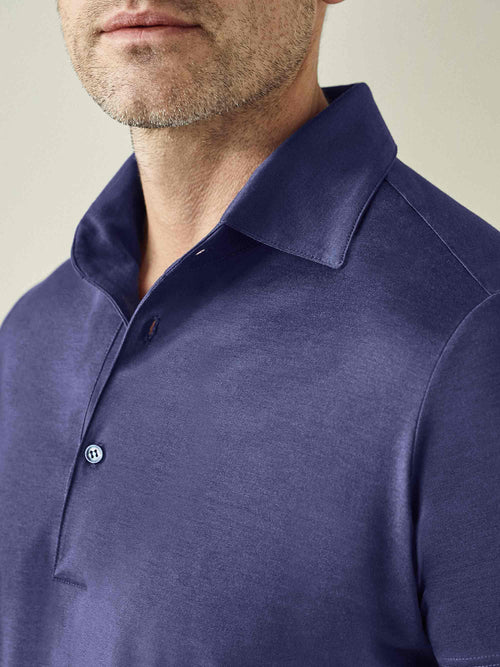 Ocean Blue Silk-Cotton Polo