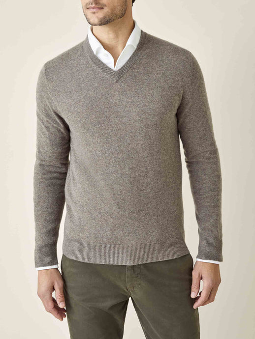 Luca Faloni Nocciola Brown Melange Pure Cashmere V Neck Made in Italy