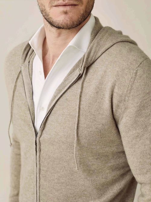 Luca Faloni Camel Beige Pure Cashmere Zip Hoodie Made in Italy