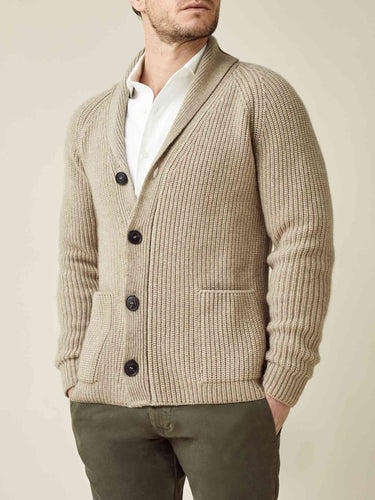 Luca Faloni Camel Beige Chunky Knit Cashmere Cardigan Made in Italy