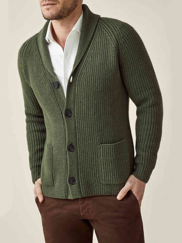 Luca Faloni Hunting Green Chunky Knit Cashmere Cardigan Made in Italy