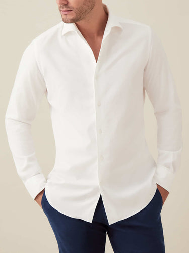 Luca Faloni White Brushed Cotton Shirt Made in Italy