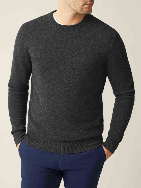 Luca Faloni Charcoal Grey Pure Cashmere Crew Neck Made in Italy