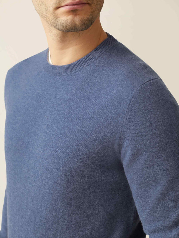 Luca Faloni Sialia Blue Melange Pure Cashmere Crew Neck Made in Italy