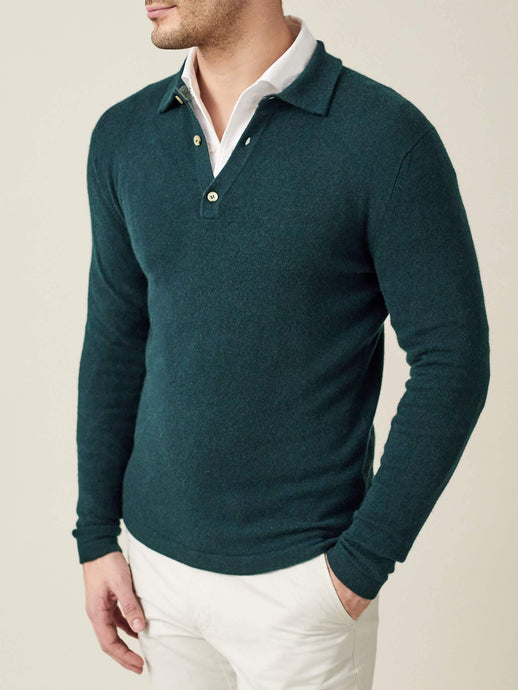 Luca Faloni Forest Green Pure Cashmere Polo Sweater Made in Italy