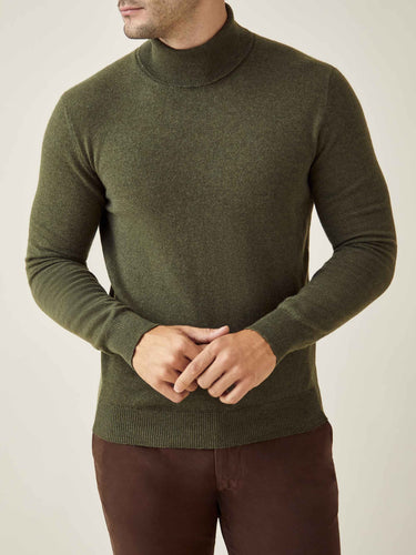 Hunting Green Pure Cashmere Roll Neck