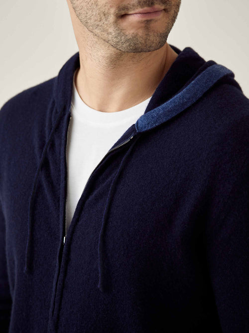 Luca Faloni Midnight Blue Pure Cashmere Zip Hoodie Made in Italy