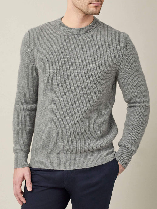 Luca Faloni Dolomiti Grey Chunky Knit Cashmere Crew Neck Made in Italy