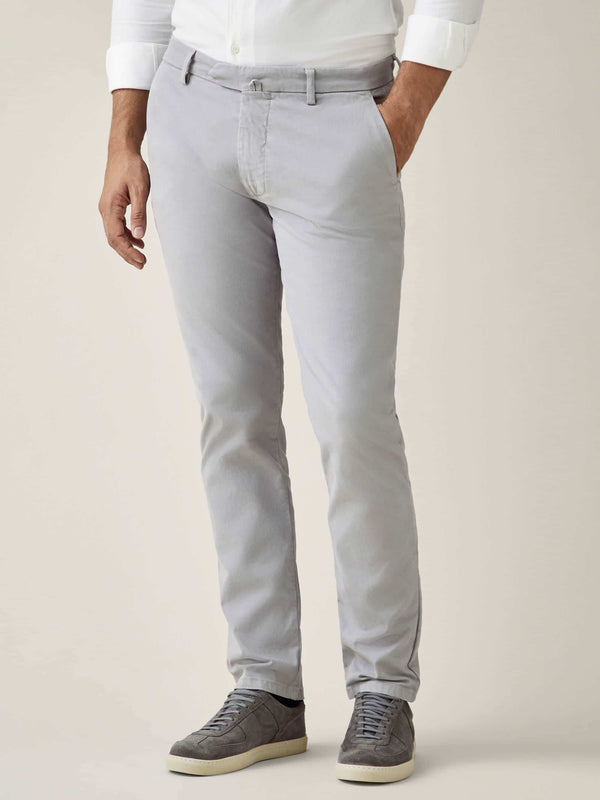 Luca Faloni Light Grey Cortina Cotton Chinos Made in Italy