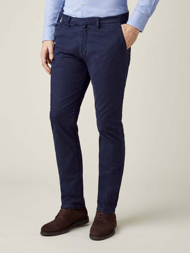 Luca Faloni Navy Blue Cortina Winter Chinos Made in Italy