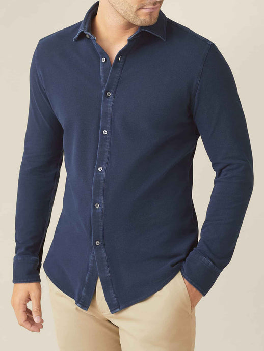 Luca Faloni Navy Blue Siena Piqué Shirt Made in Italy