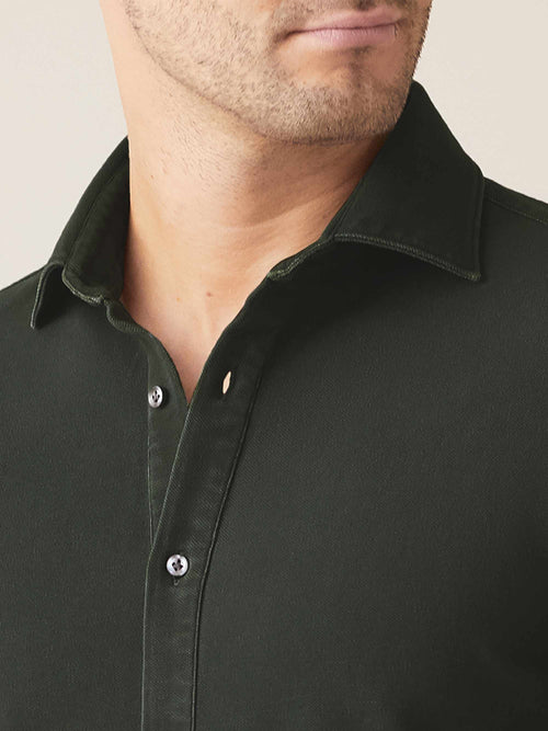 Luca Faloni Forest Green Siena Piqué Shirt Made in Italy