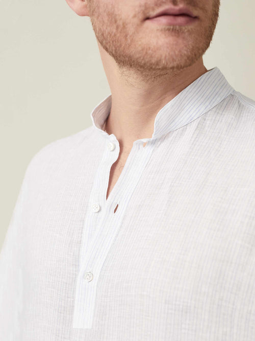 Luca Faloni Thin Striped Forte Linen Shirt Made in Italy