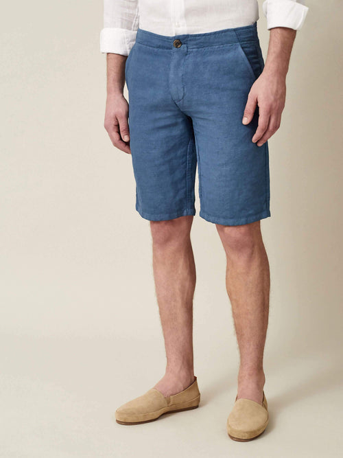 Luca Faloni Capri Blue Panarea Linen-Cotton Shorts Made in Italy