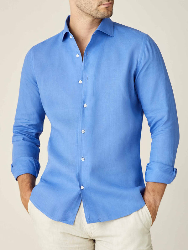 Luca Faloni Capri Blue Portofino Linen Shirt Made in Italy