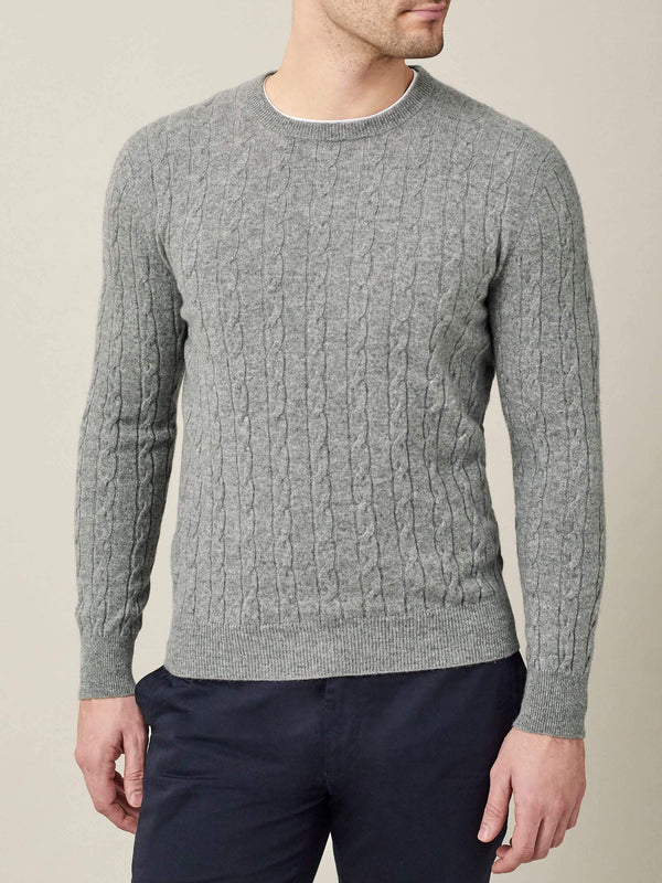 Luca Faloni Light Grey Pure Cashmere Cable Knit Made in Italy