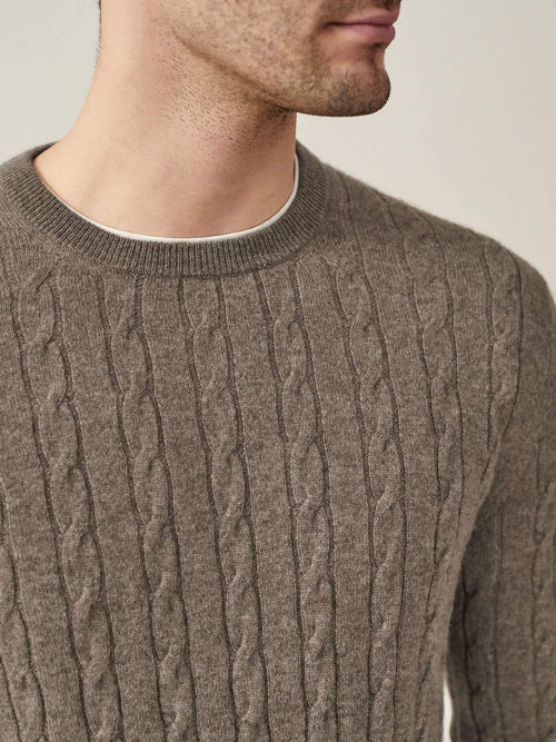 Luca Faloni Nocciola Brown Pure Cashmere Cable Knit Made in Italy