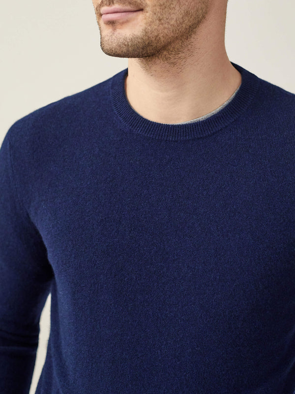 Luca Faloni Navy Blue Pure Cashmere Crew Neck Made in Italy