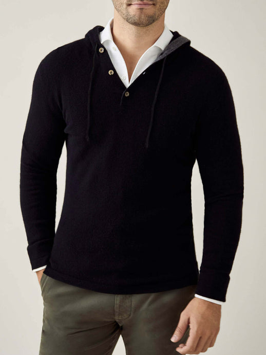 Luca Faloni Black Pure Cashmere Hoodie Made in Italy