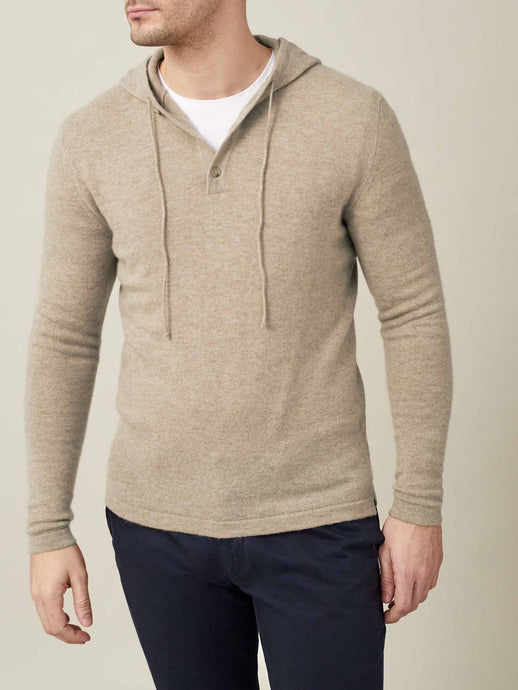 Luca Faloni Camel Beige Pure Cashmere Hoodie Made in Italy