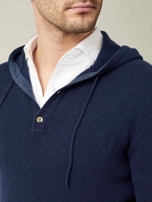 Luca Faloni Navy Blue Pure Cashmere Hoodie Made in Italy