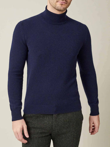 Luca Faloni Navy Blue Pure Cashmere Roll Neck Made in Italy