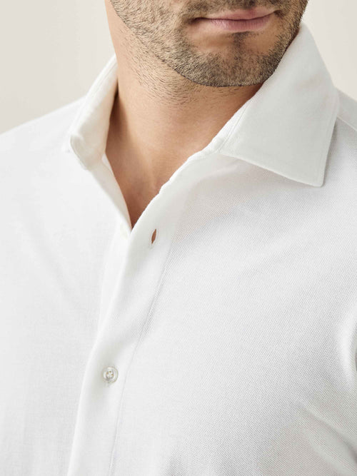 Luca Faloni White Siena Piqué Shirt Made in Italy