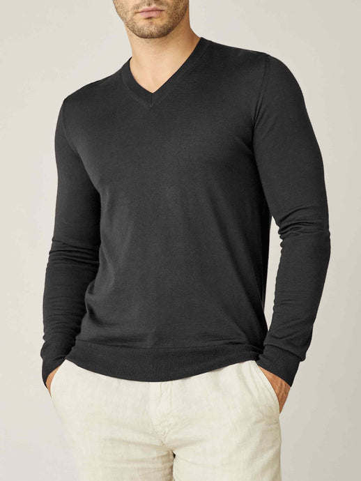 Luca Faloni Charcoal Grey Fine Silk-Cashmere V Neck Made in Italy