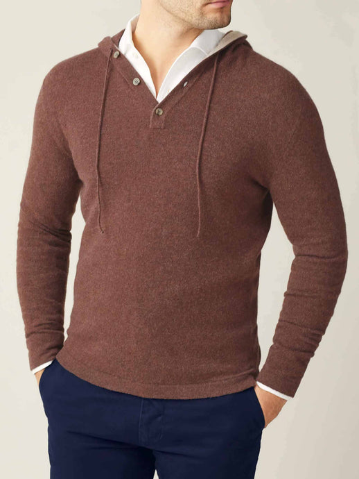 Luca Faloni Auburn Pure Cashmere Hoodie Made In Italy