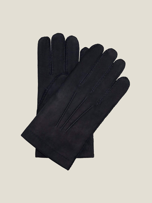 Luca Faloni Navy Blue Leather Gloves Made in Italy