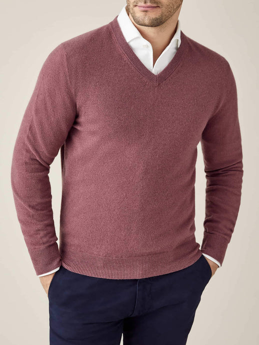 Luca Faloni Desert Rose Pure Cashmere V Neck Made in Italy
