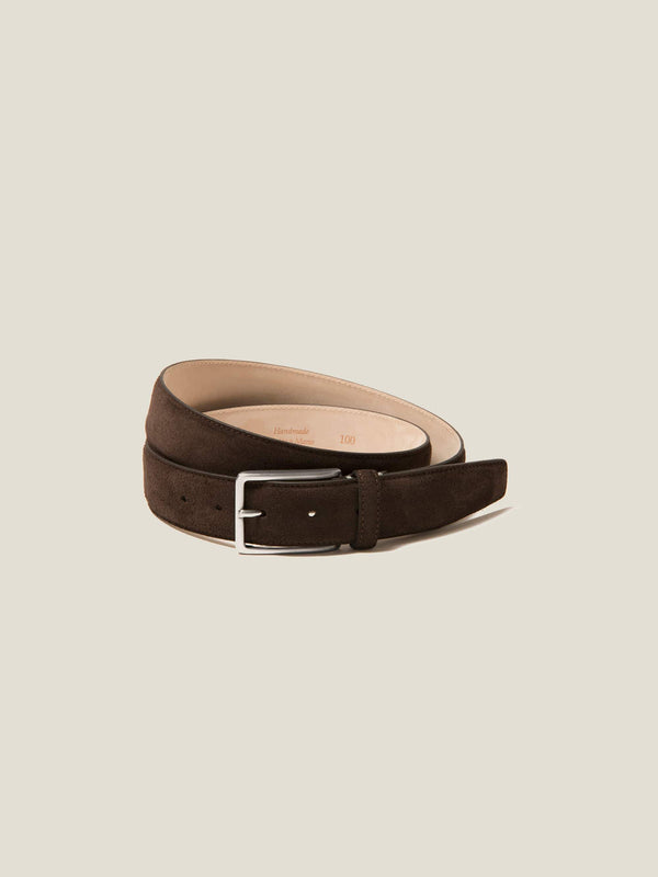 Luca Faloni Dark Brown Classic Suede Belt Made in Italy
