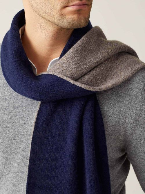 Luca Faloni Navy and Brown Double-Faced Cashmere Scarf Made in Italy