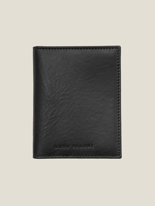 Luca Faloni Black Bifold Cardholder Made in Italy