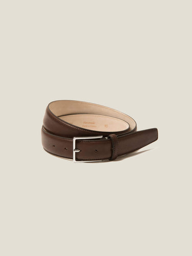 Luca Faloni Dark Brown Calf Leather Belt Made in Italy