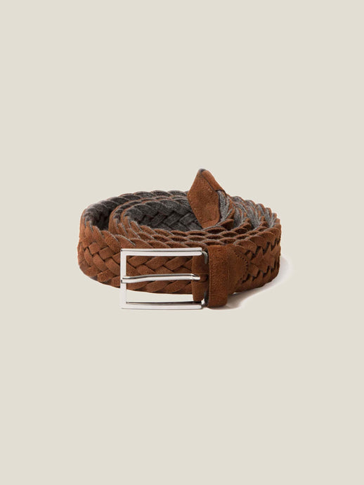 Luca Faloni Light Brown Woven Suede Belt Made in Italy