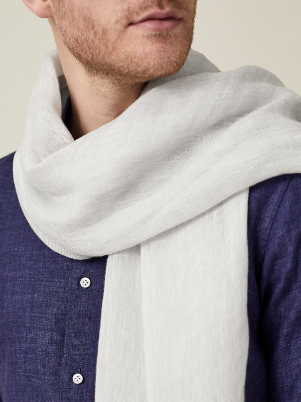 Luca Faloni Light Grey Linen Scarf Made in Italy