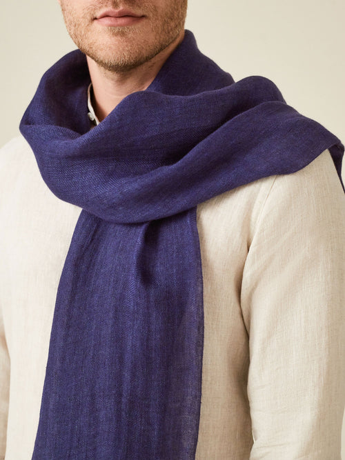 Luca Faloni Navy Blue Linen Scarf Made in Italy